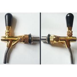 Кран с металлическим носиком и компенсатором, резьба 5/8х35х10, золото
