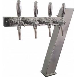 Пивная колонна ACCIAIO, 7-ОБРАЗНАЯ,(квадратная труба, основа 100Х100 и крыло 80Х80) сталь, покрытие хром, 4 выхода, без рециркуляции,