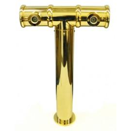 Пивная колонна MODULARE,Т-ОБРАЗНАЯ, сталь, (наклон башни вперед 13°), D=70, покрытие золото, 2 выхода
