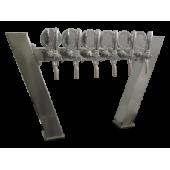 Пивная колонна ACCIAIO, \****/-ОБРАЗНАЯ, (квадратная труба основа 100Х100, крыло 80Х80), сталь, покрытие хром, 6 выходов (3+3), без рециркуляции